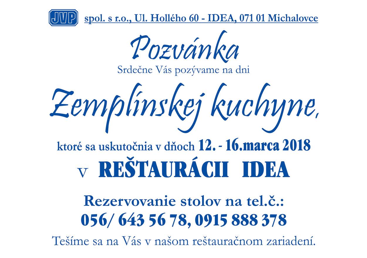 JVP IDEA - Zemplinska kuchyna