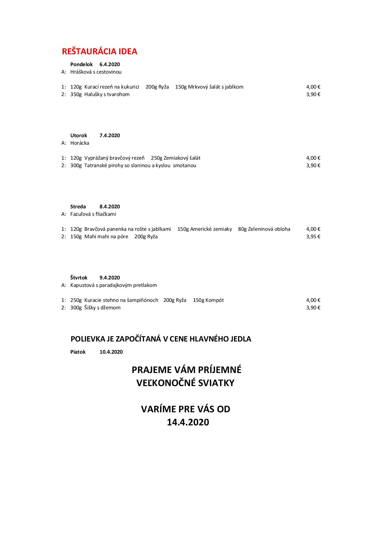 Denné menu 06.-12.04.2020